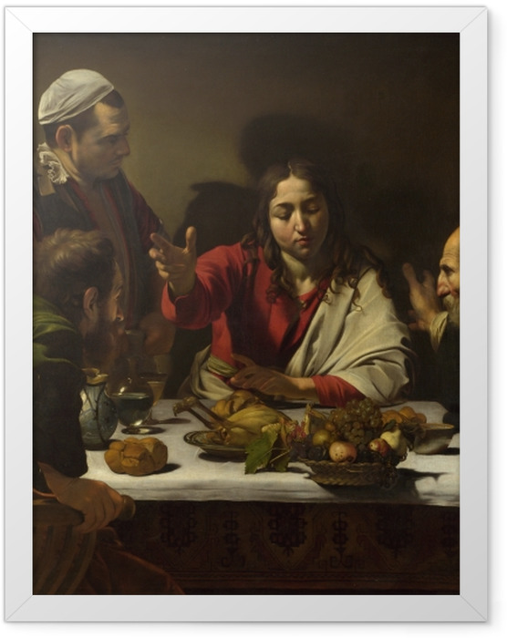 Gerahmtes Poster Caravaggio - Das Abendmahl in Emmaus - Reproductions