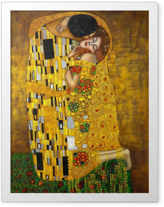 Gerahmtes Poster Gustav Klimt - Der Kuss - Reproduktion