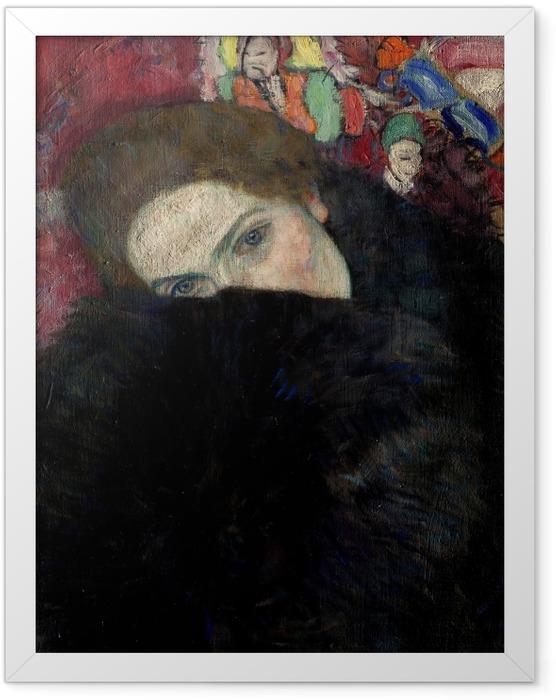 Gerahmtes Poster Gustav Klimt - Dame mit Hut und Federboa - Reproduktion