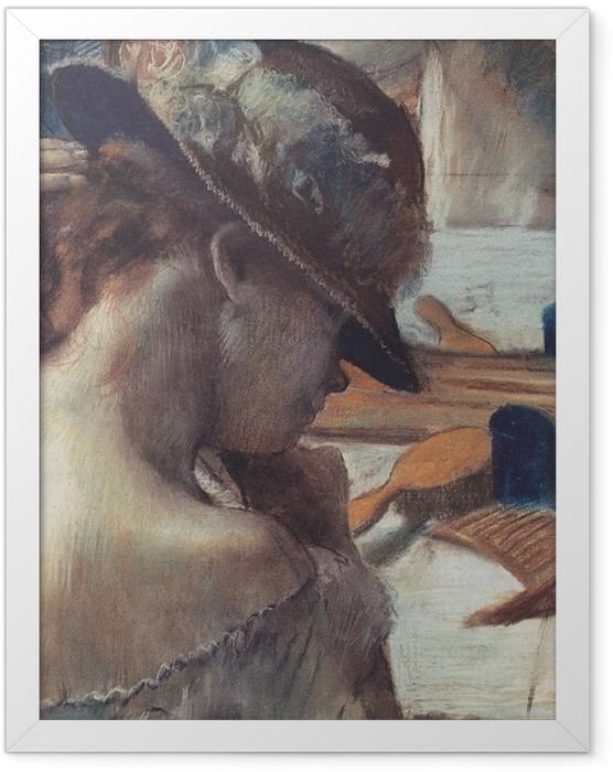 Gerahmtes Poster Edgar Degas - Vor dem Spiegel - Reproduktion