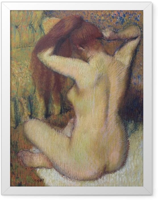 Gerahmtes Poster Edgar Degas - Frau beim Kämmen - Reproduktion