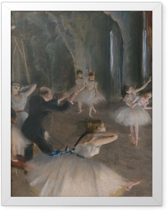 Gerahmtes Poster Edgar Degas - Ballettprobe auf der Bühne - Reproduktion