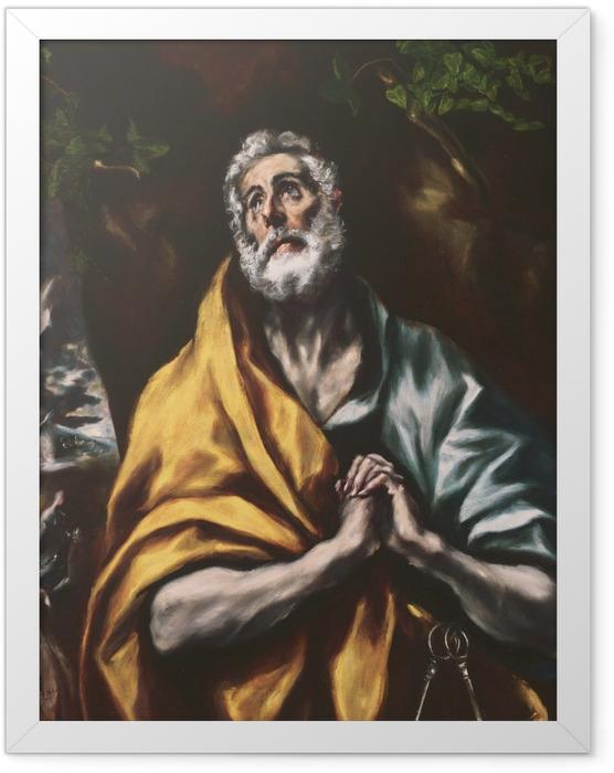 Gerahmtes Poster El Greco - Der reuige heilige Petrus - Reproduktion