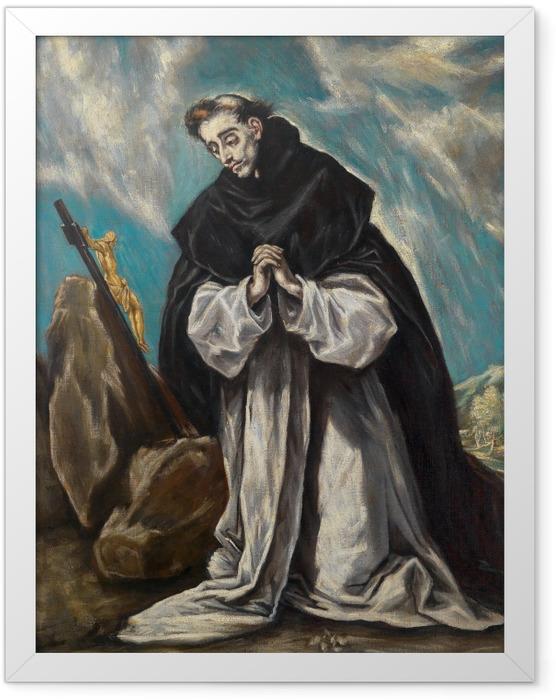 Gerahmtes Poster El Greco - Der heilige Dominikus im Gebet - Reproduktion