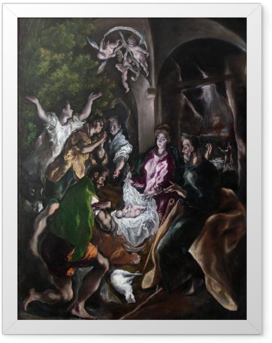 Plakat w ramie El Greco - Pokłon pasterzy - Reprodukcje