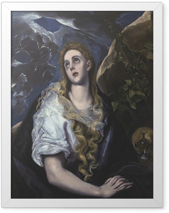 Gerahmtes Poster El Greco - Büßende Magdalena - Reproduktion