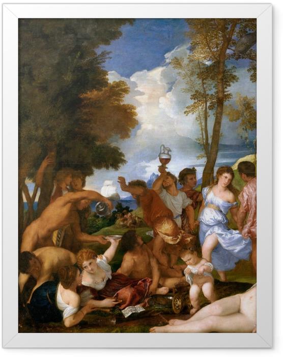 Gerahmtes Poster Tizian - Bacchanalien - Reproduktion