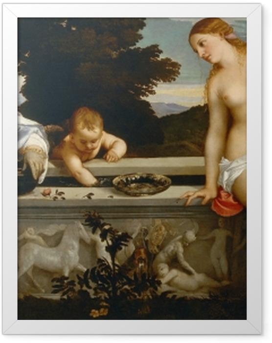 Plakat w ramie Tycjan - Miłość niebiańska i miłość ziemska - Reprodukcje