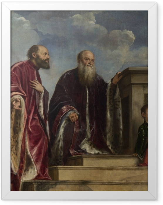 Gerahmtes Poster Tizian - Votivbild der Familie Vendramin - Reproduktion