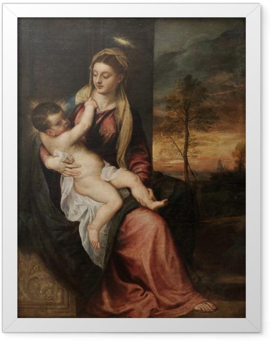 Gerahmtes Poster Tizian - Madonna mit dem Kind in einer Abendlandschaft - Reproduktion