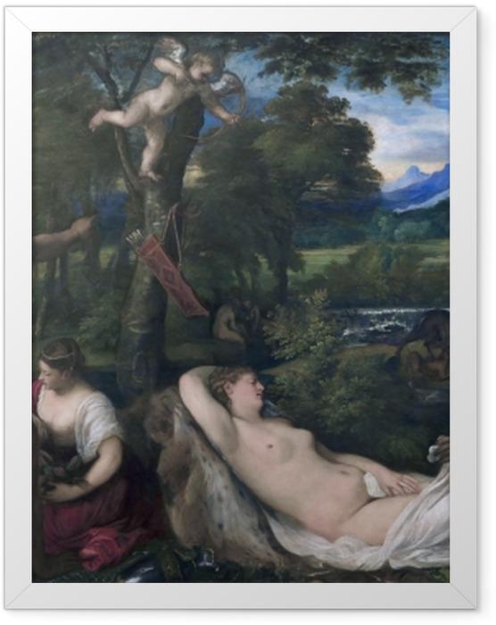 Gerahmtes Poster Tizian - Jupiter und Antiope - Reproduktion