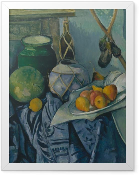 Gerahmtes Poster Paul Cézanne - Stillleben mit Ingwertopf, Kürbis und Auberginen - Reproduktion