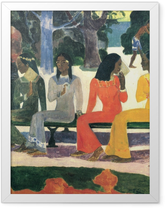 Gerahmtes Poster Paul Gauguin - Ta Matete (Der Markt) - Reproduktion