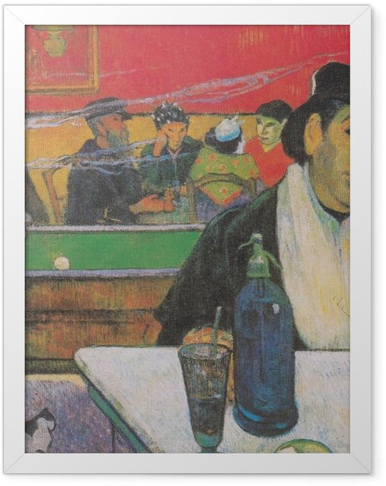 Gerahmtes Poster Paul Gauguin - Das Nachtcafé in Arles (Madame Ginoux) - Reproduktion