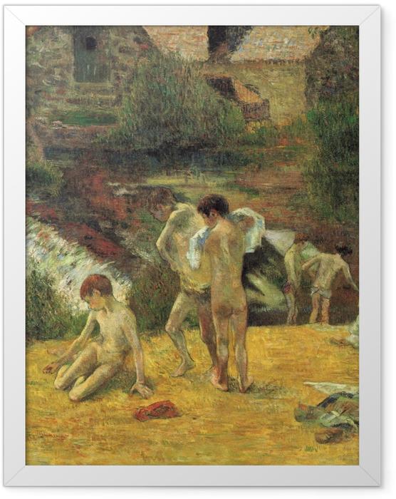 Gerahmtes Poster Paul Gauguin - Badende bretonische Knaben (Badende bei der Mühle von Bois d'Amour, Pont-Aven) - Reproduktion