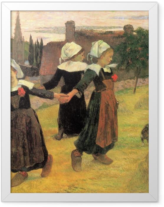 Poster en cadre Paul Gauguin - Bretonnes dansant, Pont-Aven - Reproductions