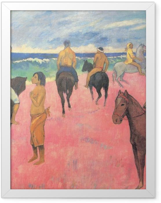 Gerahmtes Poster Paul Gauguin - Reiter am Strand - Reproduktion