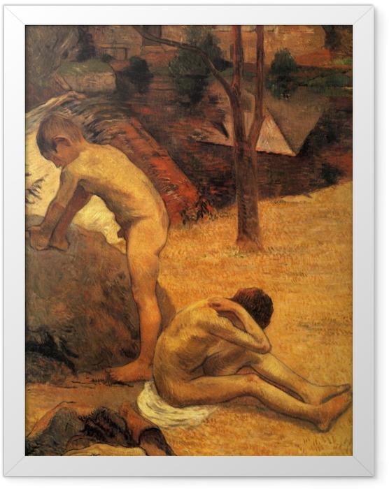 Gerahmtes Poster Paul Gauguin - Badende bretonische Knaben - Reproduktion