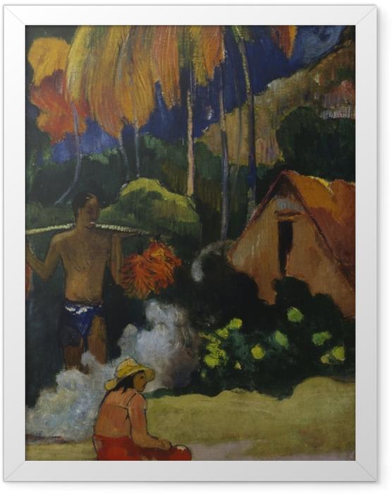 Poster en cadre Paul Gauguin - Mahana Maà (Paysage à Tahiti) - Reproductions