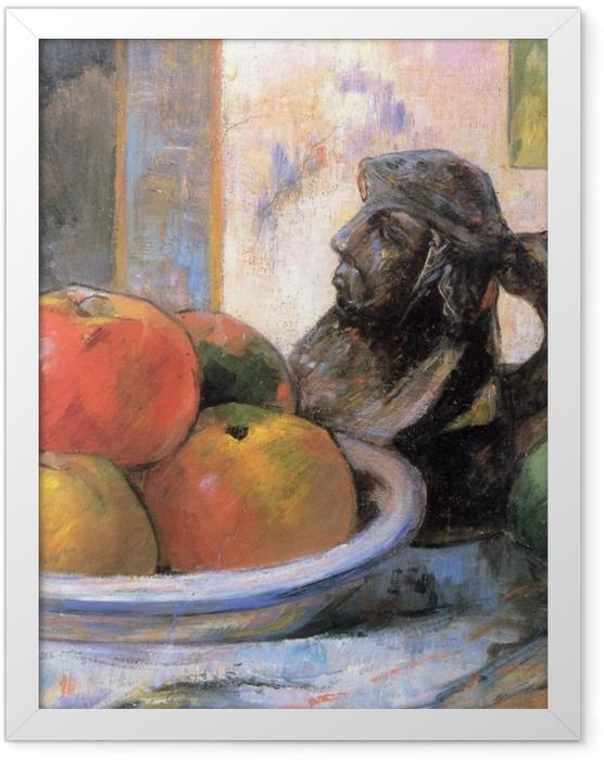 Plakat w ramie Paul Gauguin - Martwa natura z jabłkami, gruszką i kubkiem w kształcie postaci - Reprodukcje