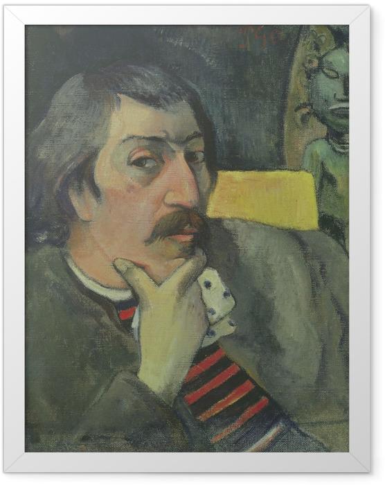 Gerahmtes Poster Paul Gauguin - Selbstbildnis mit Idol - Reproduktion