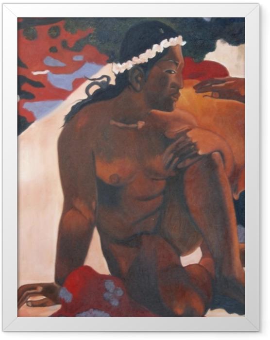 Gerahmtes Poster Paul Gauguin - Aha oe feii? (Wie! Du bist eifersüchtig?) - Reproduktion
