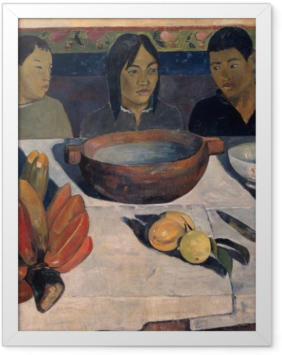 Gerahmtes Poster Paul Gauguin - Die Mahlzeit (Die Bananen) - Reproduktion
