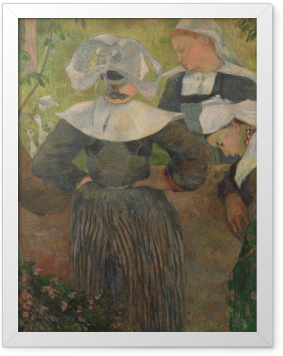 Gerahmtes Poster Paul Gauguin - Der Tanz der vier Bretoninnen - Reproduktion