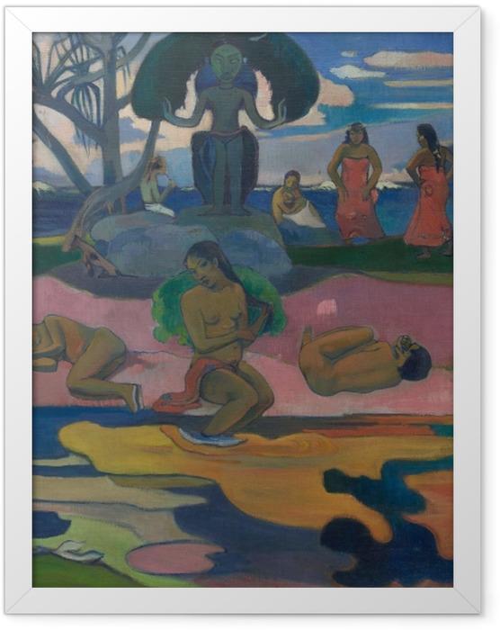 Gerahmtes Poster Paul Gauguin - Mahana No Atua (Tag des Gottes) - Reproduktion