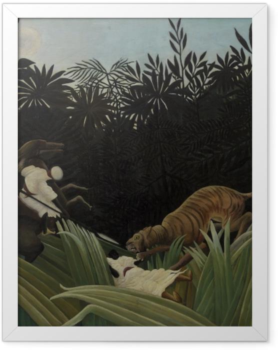 Plakat w ramie Henri Rousseau - Zwiadowca zaatakowany przez tygrysa - Reprodukcje