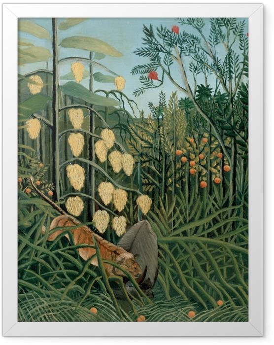 Plakat w ramie Henri Rousseau - Walka pomiędzy tygrysem a bawołem - Reprodukcje