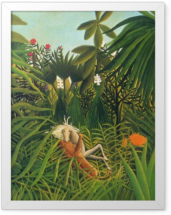 Gerahmtes Poster Henri Rousseau - Pferd von einem Jaguar angefallen - Reproductions
