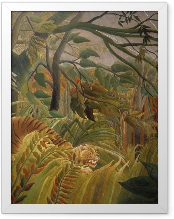 Plakat w ramie Henri Rousseau - Tygrys podczas burzy tropikalnej (zaskoczony) - Reprodukcje