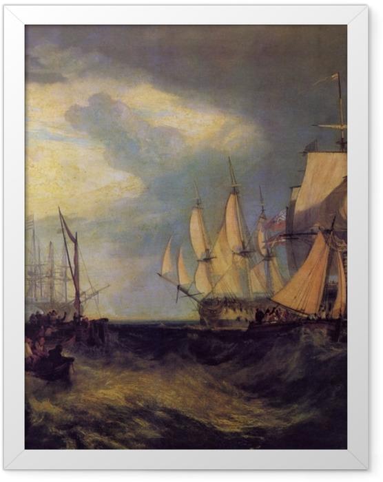 Gerahmtes Poster William Turner - Spithead; Die Besatzung lichtet den Anker - Reproduktion