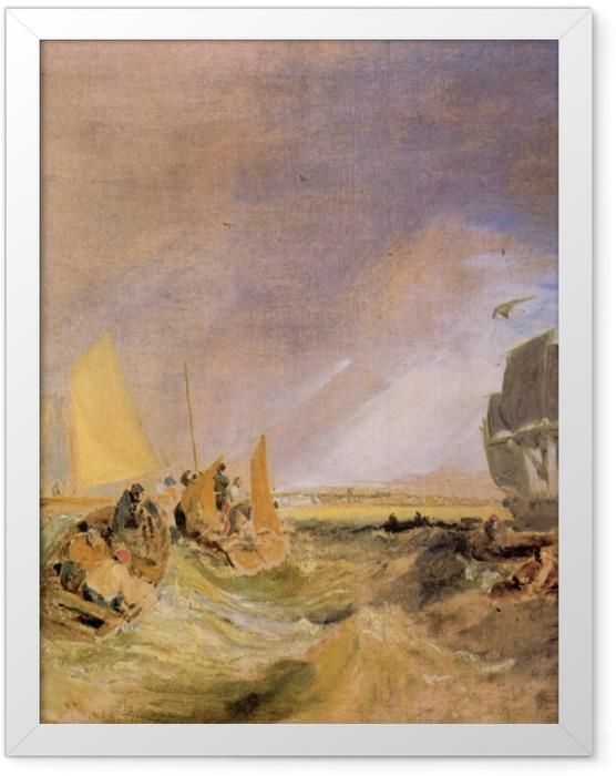 Gerahmtes Poster William Turner - Flotte an der Mündung der Themse - Reproduktion