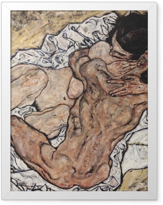 Poster en cadre Egon Schiele - L'Étreinte (couple d'amoureux II) - Reproductions