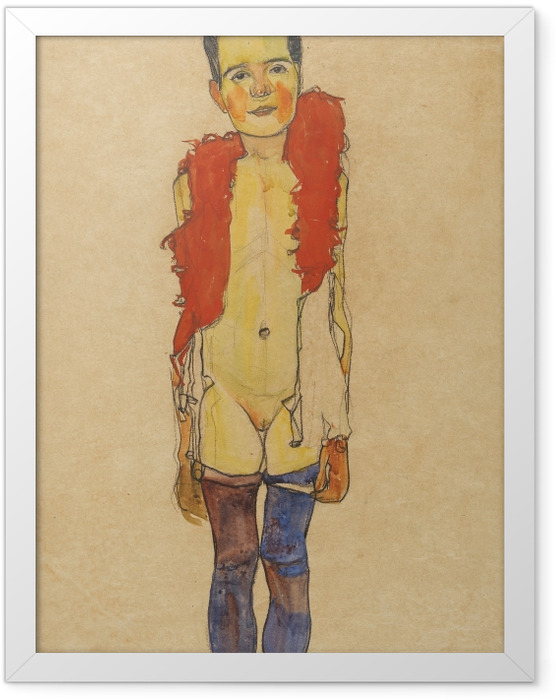 Poster en cadre Egon Schiele - Une fille avec boa - Reproductions