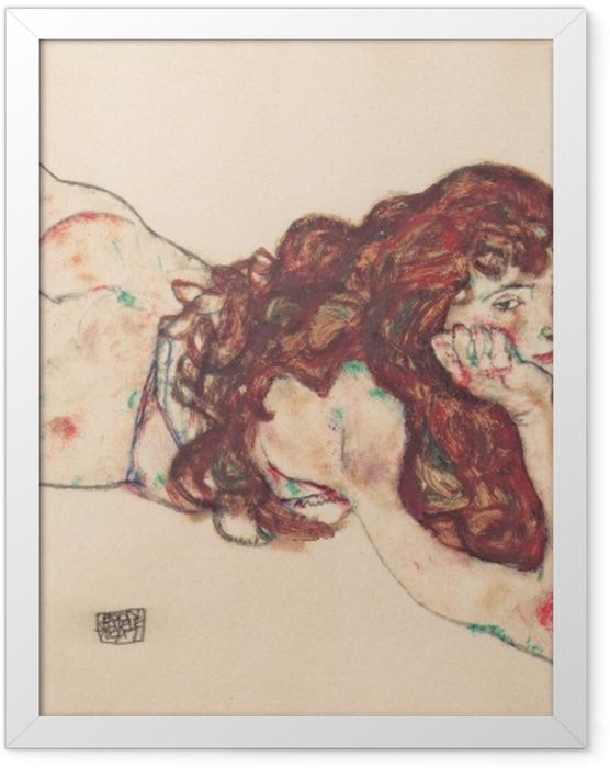 Gerahmtes Poster Egon Schiele - Auf dem Bauch liegender weiblicher Akt - Reproduktion