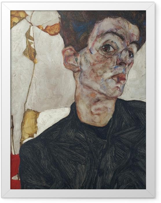 Gerahmtes Poster Egon Schiele - Selbstbildnis mit Lampionfrüchten - Reproduktion