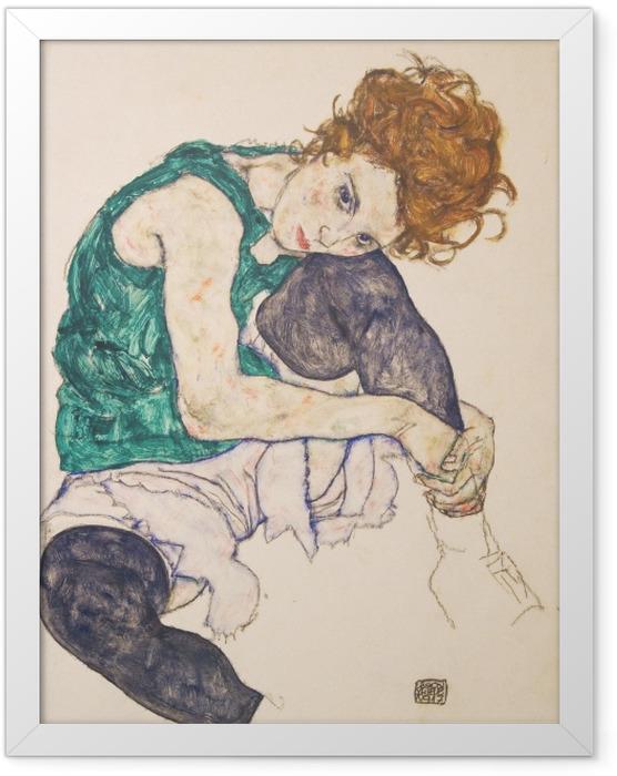 Gerahmtes Poster Egon Schiele - Sitzende Frau mit hochgezogenem Knie - Reproduktion