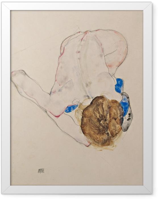 Poster en cadre Egon Schiele - Jeune fille pliée en avant aux bas bleus - Reproductions