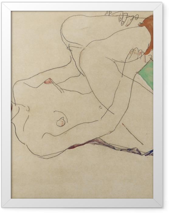 Plakat w ramie Egon Schiele - Leżąca naga dziewczyna - Reprodukcje