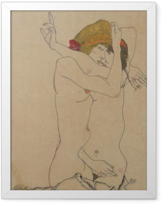 Gerahmtes Poster Egon Schiele - Zwei Frauen umarmen sich - Reproduktion
