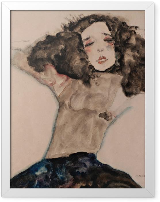 Gerahmtes Poster Egon Schiele - Schwarzhaariges Mädchen mit hochgeschlagenem Rock - Reproduktion
