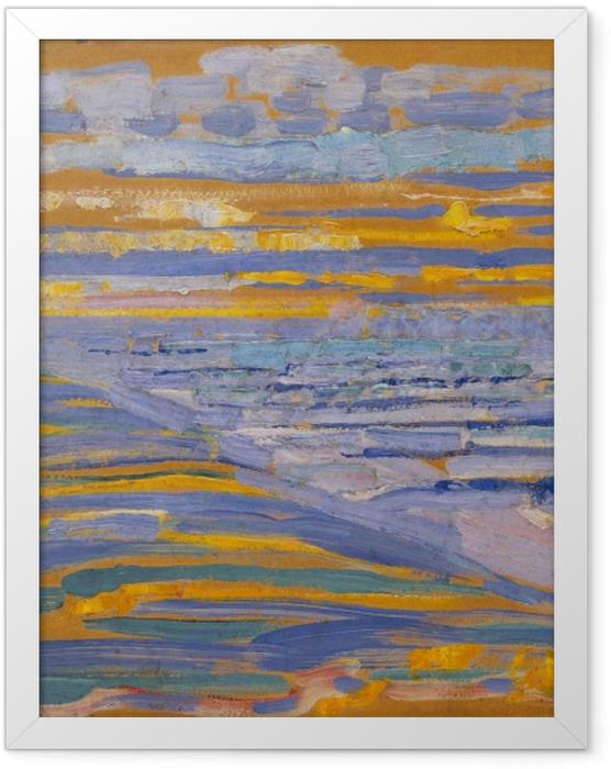 Plakat w ramie Piet Mondrian - Widok z wydmy z plażą i pomostami - Reprodukcje