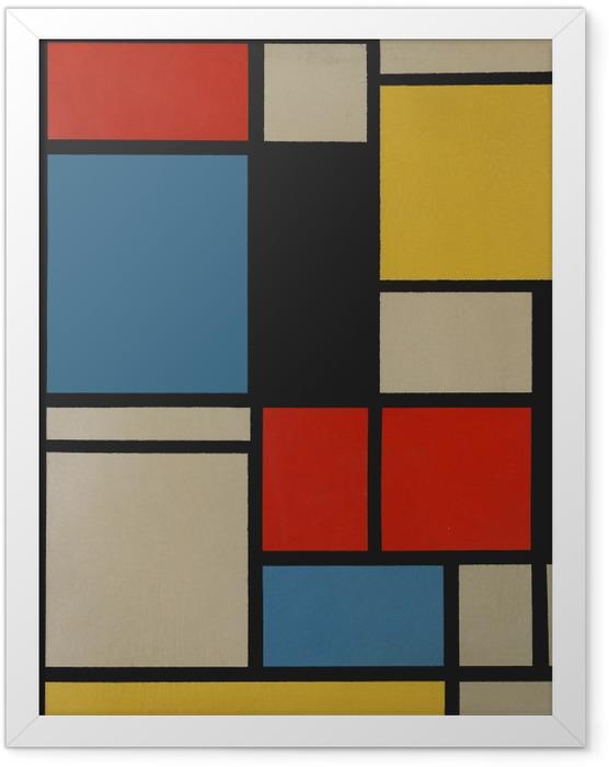 Poster en cadre Piet Mondrian - Composition C (no III) avec rouge, jaune et bleu - Reproductions