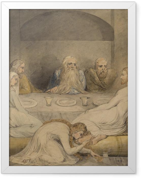 Gerahmtes Poster William Blake - Jesus Christus, von einer Sünderin gesalbt - Reproduktion