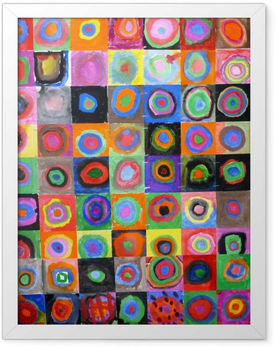 Gerahmtes Poster Wassily Kandinsky - Farbstudie - Quadrate und konzentrische Ringe - Reproduktion