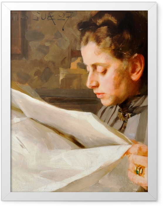 Poster en cadre Anders Zorn - Lectrice - Reproductions