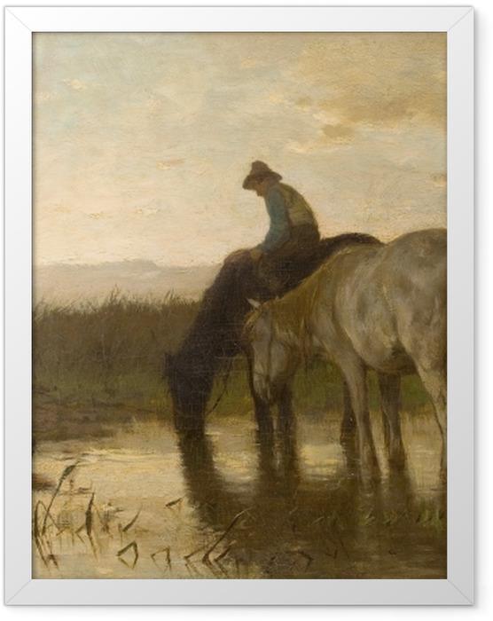 Plakat w ramie Anton Mauve - Konie u wodopoju - Reproductions